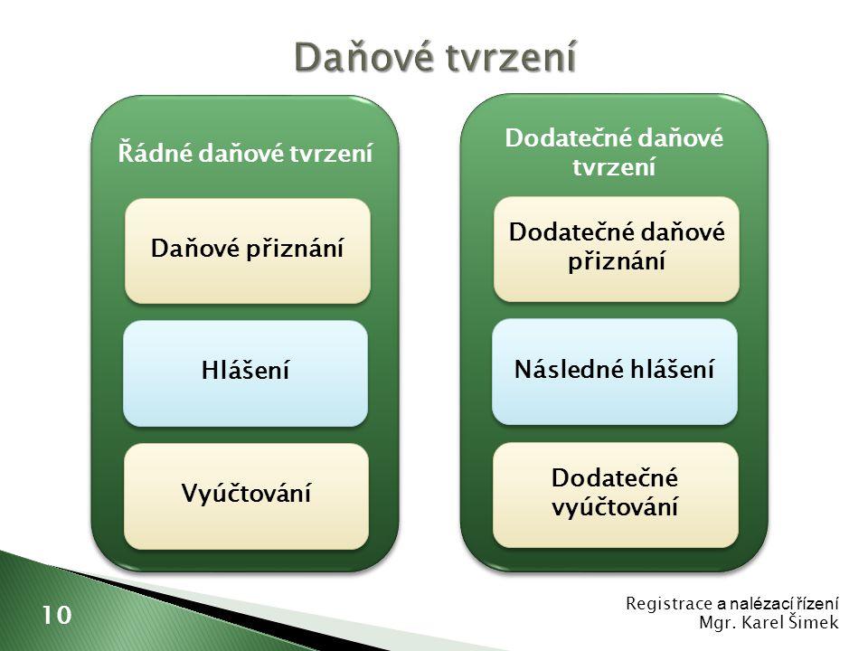 Registrace a nalézací řízení Mgr. Karel Šimek 10 Řádné daňové tvrzení Daňové přiznání Vyúčtování Hlášení Dodatečné daňové tvrzení Dodatečné daňové při