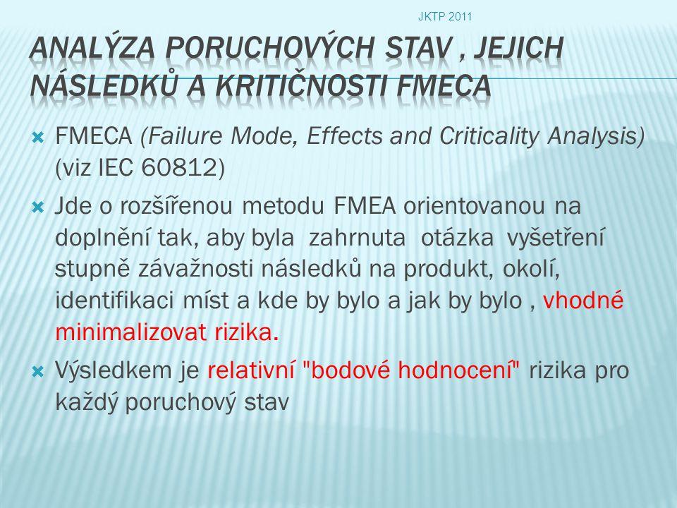  FMECA (Failure Mode, Effects and Criticality Analysis) (viz IEC 60812)  Jde o rozšířenou metodu FMEA orientovanou na doplnění tak, aby byla zahrnuta otázka vyšetření stupně závažnosti následků na produkt, okolí, identifikaci míst a kde by bylo a jak by bylo, vhodné minimalizovat rizika.