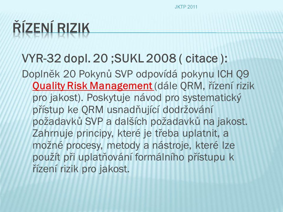 VYR-32 dopl. 20 ;SUKL 2008 ( citace ): Doplněk 20 Pokynů SVP odpovídá pokynu ICH Q9 Quality Risk Management (dále QRM, řízení rizik pro jakost). Posky