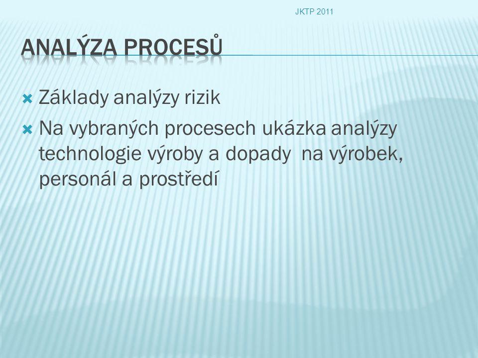  Základy analýzy rizik  Na vybraných procesech ukázka analýzy technologie výroby a dopady na výrobek, personál a prostředí JKTP 2011