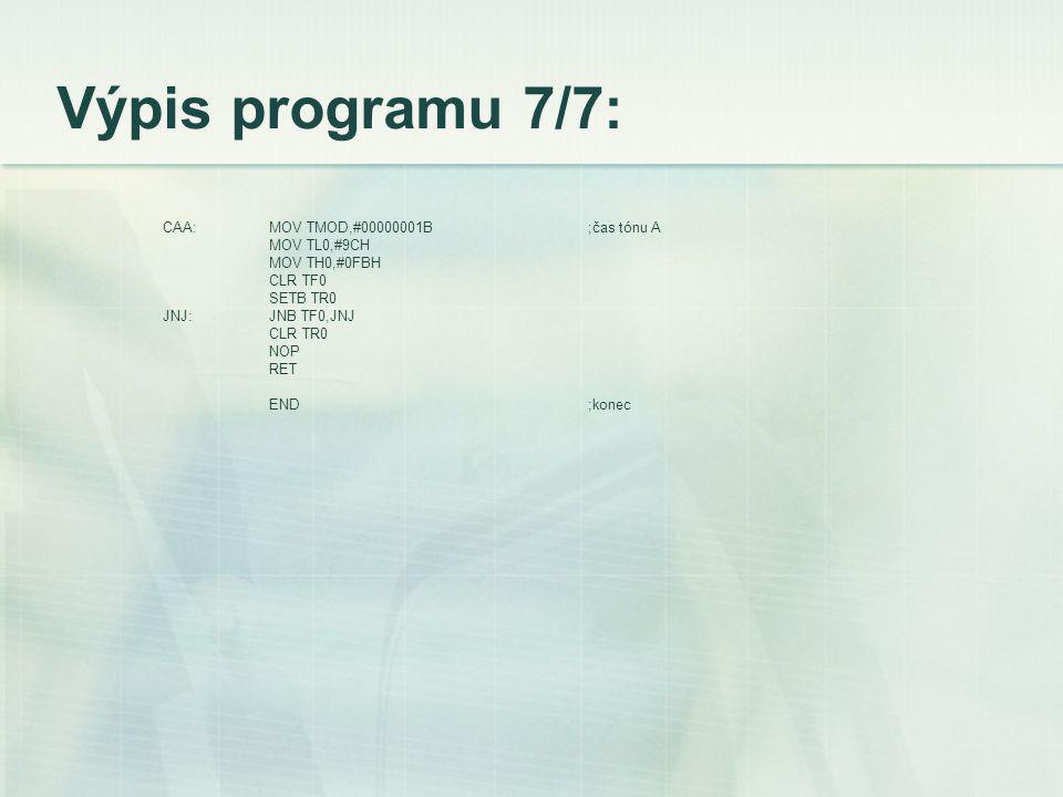 Výpis programu 7/7: CAA:MOV TMOD,#00000001B;čas tónu A MOV TL0,#9CH MOV TH0,#0FBH CLR TF0 SETB TR0 JNJ:JNB TF0,JNJ CLR TR0 NOP RET END;konec