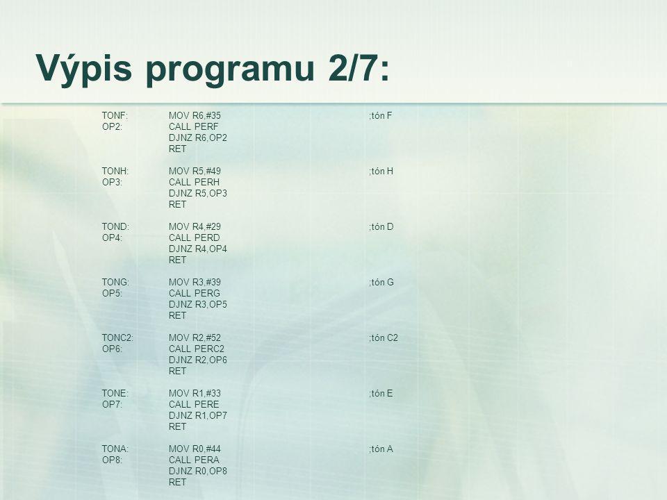 Výpis programu 2/7: TONF:MOV R6,#35;tón F OP2:CALL PERF DJNZ R6,OP2 RET TONH:MOV R5,#49;tón H OP3:CALL PERH DJNZ R5,OP3 RET TOND:MOV R4,#29;tón D OP4:CALL PERD DJNZ R4,OP4 RET TONG:MOV R3,#39;tón G OP5:CALL PERG DJNZ R3,OP5 RET TONC2:MOV R2,#52;tón C2 OP6:CALL PERC2 DJNZ R2,OP6 RET TONE:MOV R1,#33;tón E OP7:CALL PERE DJNZ R1,OP7 RET TONA:MOV R0,#44;tón A OP8:CALL PERA DJNZ R0,OP8 RET
