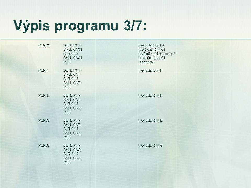 Výpis programu 3/7: PERC1:SETB P1.7;perioda tónu C1 CALL CAC1;volá čas tónu C1 CLR P1.7;vyčistí 7.
