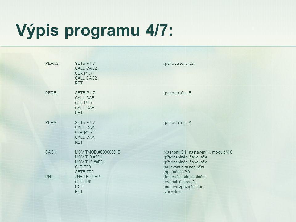 Výpis programu 4/7: PERC2:SETB P1.7;perioda tónu C2 CALL CAC2 CLR P1.7 CALL CAC2 RET PERE:SETB P1.7;perioda tónu E CALL CAE CLR P1.7 CALL CAE RET PERA:SETB P1.7;perioda tónu A CALL CAA CLR P1.7 CALL CAA RET CAC1:MOV TMOD,#00000001B;čas tónu C1, nastavení 1.