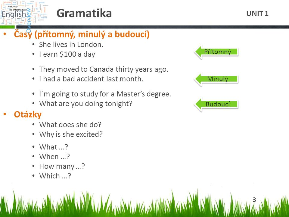 Gramatika Časy (přítomný, minulý a budoucí) She lives in London. I earn $100 a day They moved to Canada thirty years ago. I had a bad accident last mo