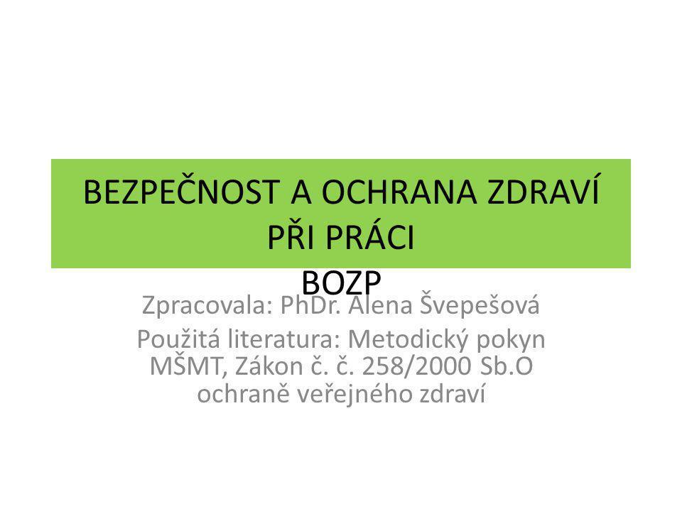 BEZPEČNOST A OCHRANA ZDRAVÍ PŘI PRÁCI BOZP Zpracovala: PhDr.