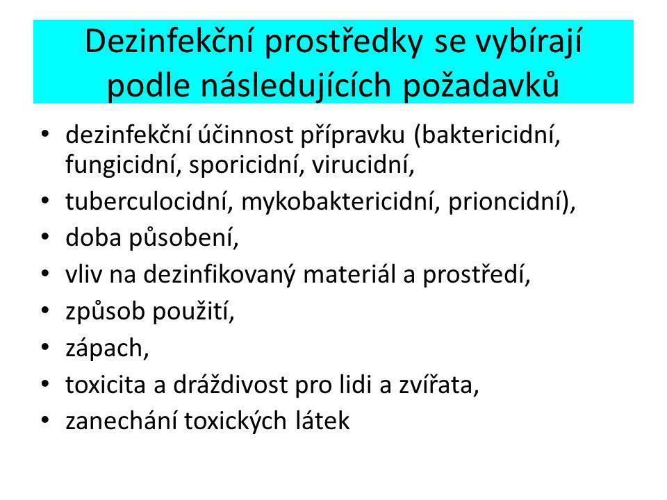 Dezinfekční prostředky se vybírají podle následujících požadavků dezinfekční účinnost přípravku (baktericidní, fungicidní, sporicidní, virucidní, tuberculocidní, mykobaktericidní, prioncidní), doba působení, vliv na dezinfikovaný materiál a prostředí, způsob použití, zápach, toxicita a dráždivost pro lidi a zvířata, zanechání toxických látek