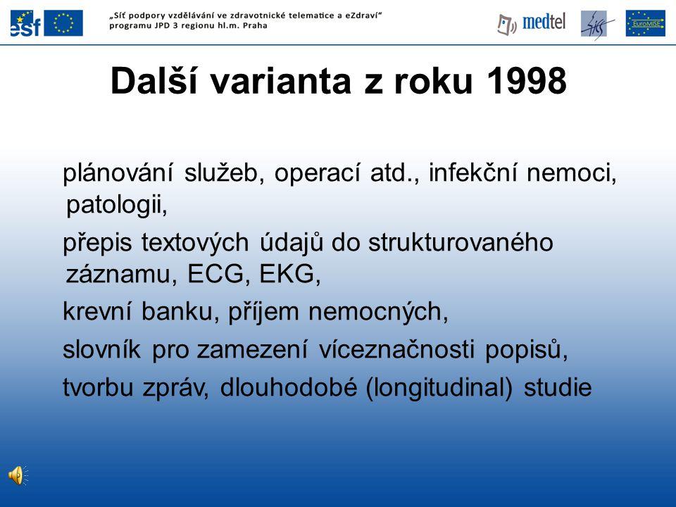 Další varianta z roku 1998 plánování služeb, operací atd., infekční nemoci, patologii, přepis textových údajů do strukturovaného záznamu, ECG, EKG, kr