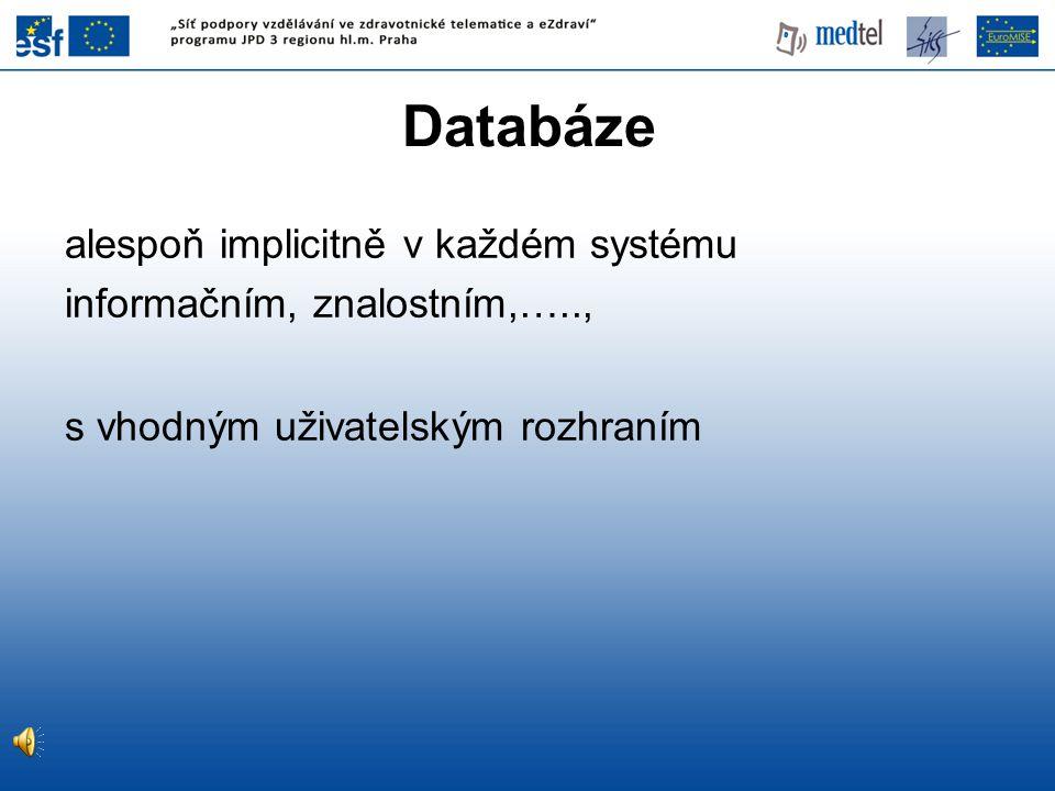 """Databáze """"Systém řízení databáze je obecný softwarový systém, který řídí sdílený přístup k databázi, a poskytuje mechanizmy pomáhající zajistit bezpečnost a integritu uložených dat."""