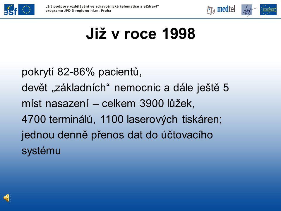 """Již v roce 1998 pokrytí 82-86% pacientů, devět """"základních"""" nemocnic a dále ještě 5 míst nasazení – celkem 3900 lůžek, 4700 terminálů, 1100 laserových"""