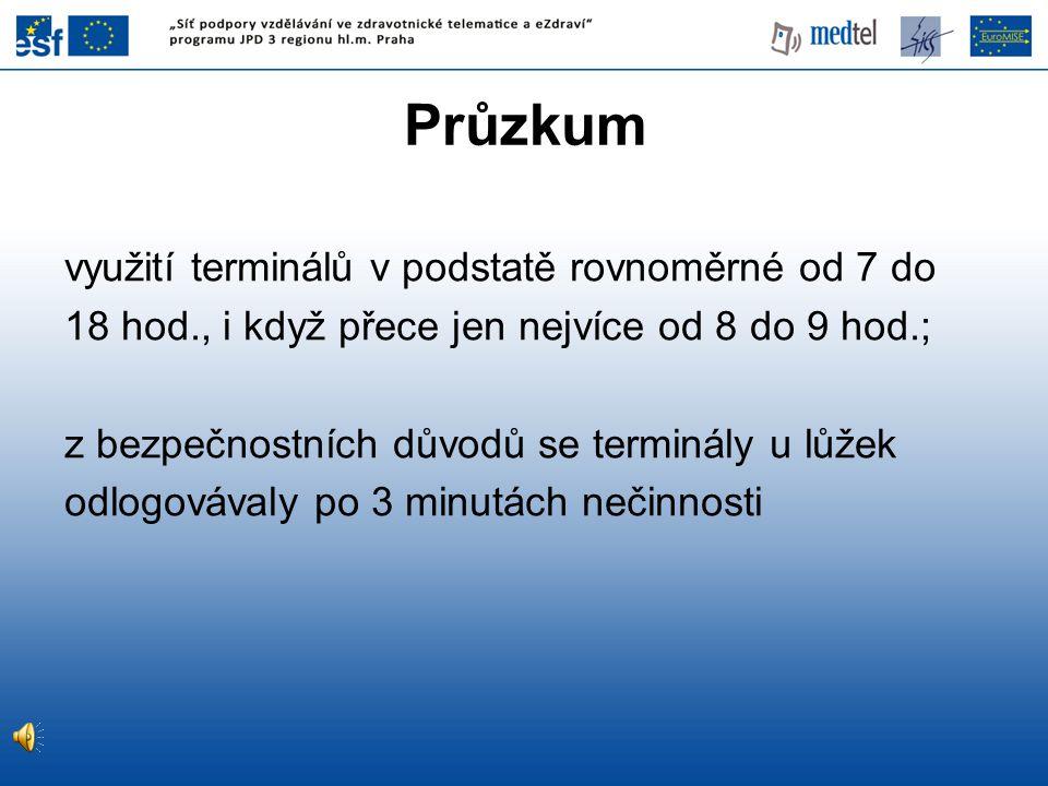 Průzkum využití terminálů v podstatě rovnoměrné od 7 do 18 hod., i když přece jen nejvíce od 8 do 9 hod.; z bezpečnostních důvodů se terminály u lůžek