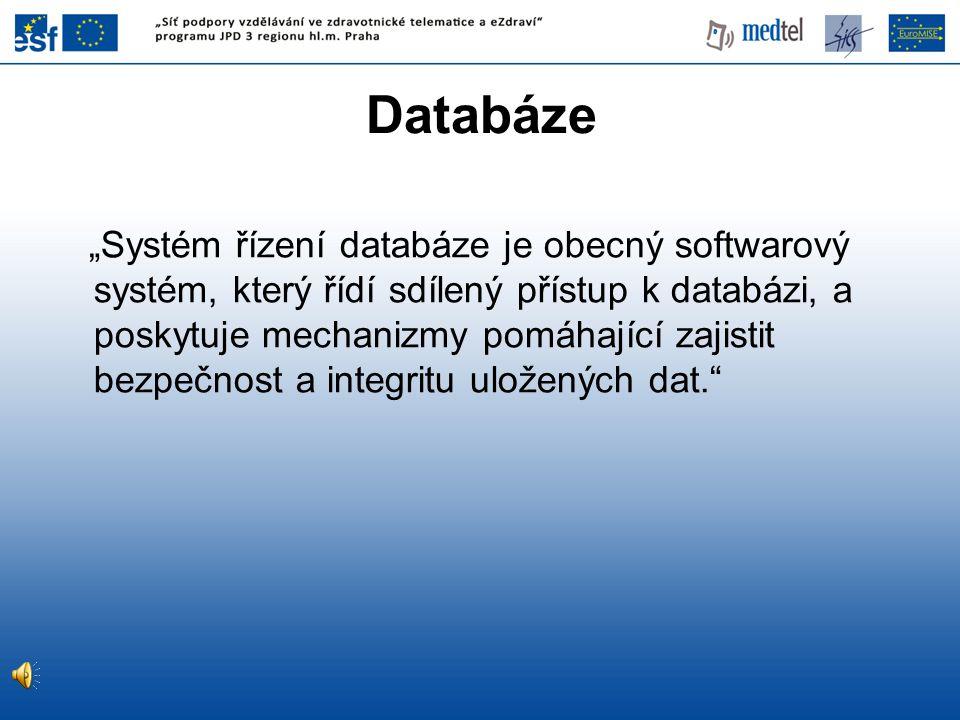 """Databáze """"Systém řízení databáze je obecný softwarový systém, který řídí sdílený přístup k databázi, a poskytuje mechanizmy pomáhající zajistit bezpeč"""