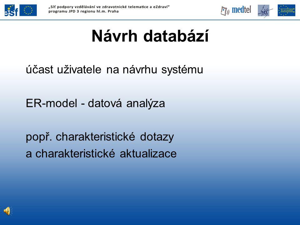 Návrh databází účast uživatele na návrhu systému ER-model - datová analýza popř. charakteristické dotazy a charakteristické aktualizace