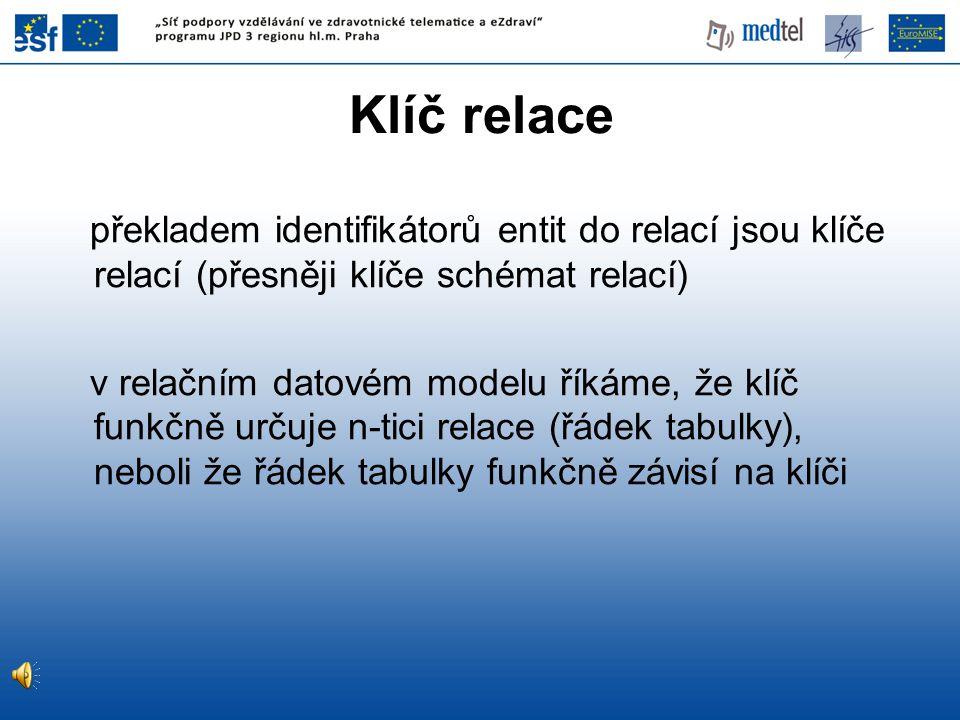 Klíč relace překladem identifikátorů entit do relací jsou klíče relací (přesněji klíče schémat relací) v relačním datovém modelu říkáme, že klíč funkč