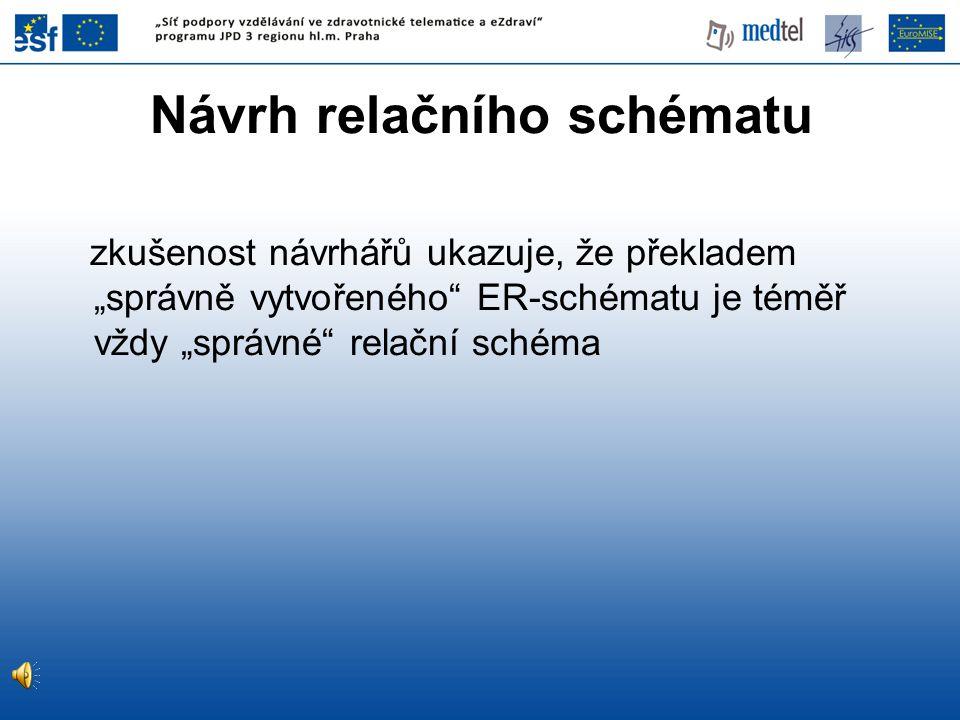 """Návrh relačního schématu zkušenost návrhářů ukazuje, že překladem """"správně vytvořeného"""" ER-schématu je téměř vždy """"správné"""" relační schéma"""