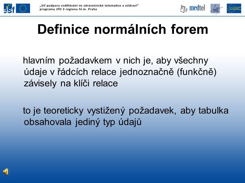 Definice normálních forem hlavním požadavkem v nich je, aby všechny údaje v řádcích relace jednoznačně (funkčně) závisely na klíči relace to je teoret