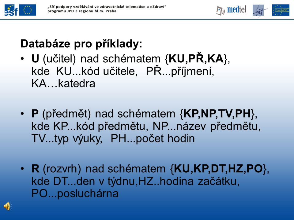 Databáze pro příklady: U (učitel) nad schématem {KU,PŘ,KA}, kde KU...kód učitele, PŘ...příjmení, KA…katedra P (předmět) nad schématem {KP,NP,TV,PH}, k