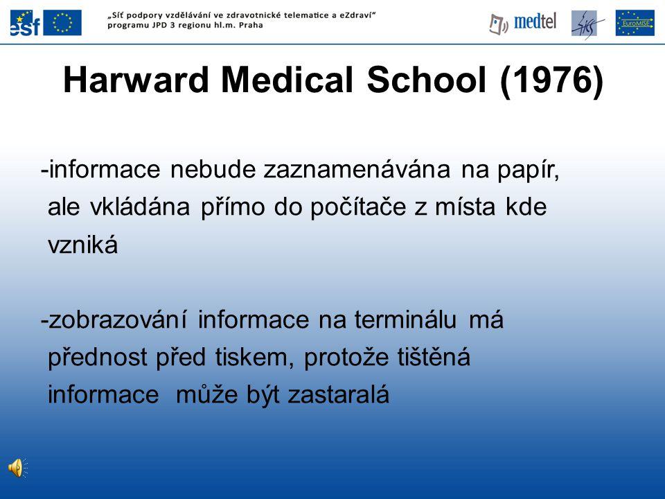 Harward Medical School (1976) -informace nebude zaznamenávána na papír, ale vkládána přímo do počítače z místa kde vzniká -zobrazování informace na te