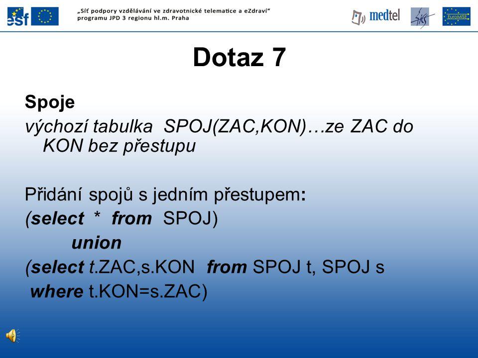 Dotaz 7 Spoje výchozí tabulka SPOJ(ZAC,KON)…ze ZAC do KON bez přestupu Přidání spojů s jedním přestupem: (select * from SPOJ) union (select t.ZAC,s.KO