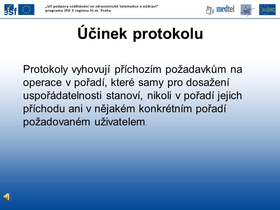 Účinek protokolu Protokoly vyhovují příchozím požadavkům na operace v pořadí, které samy pro dosažení uspořádatelnosti stanoví, nikoli v pořadí jejich