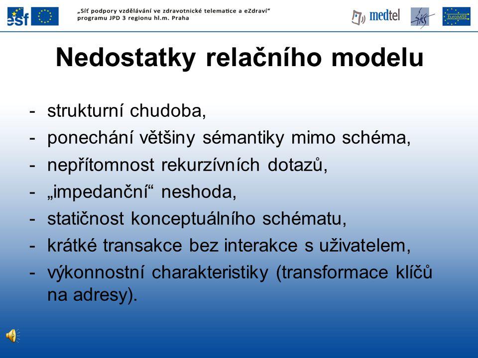 """Nedostatky relačního modelu -strukturní chudoba, -ponechání většiny sémantiky mimo schéma, -nepřítomnost rekurzívních dotazů, -""""impedanční"""" neshoda, -"""