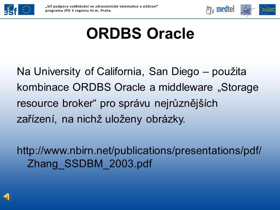 "ORDBS Oracle Na University of California, San Diego – použita kombinace ORDBS Oracle a middleware ""Storage resource broker"" pro správu nejrůznějších z"