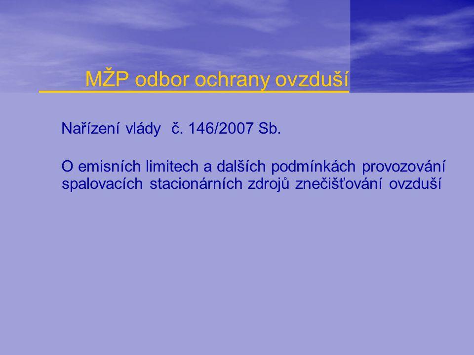 Nařízení vlády č. 146/2007 Sb. O emisních limitech a dalších podmínkách provozování spalovacích stacionárních zdrojů znečišťování ovzduší MŽP odbor oc