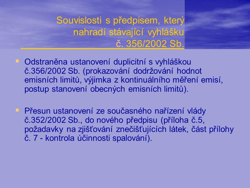 Souvislosti s předpisem, který nahradí stávající vyhlášku č. 356/2002 Sb.  Odstraněna ustanovení duplicitní s vyhláškou č.356/2002 Sb. (prokazování d