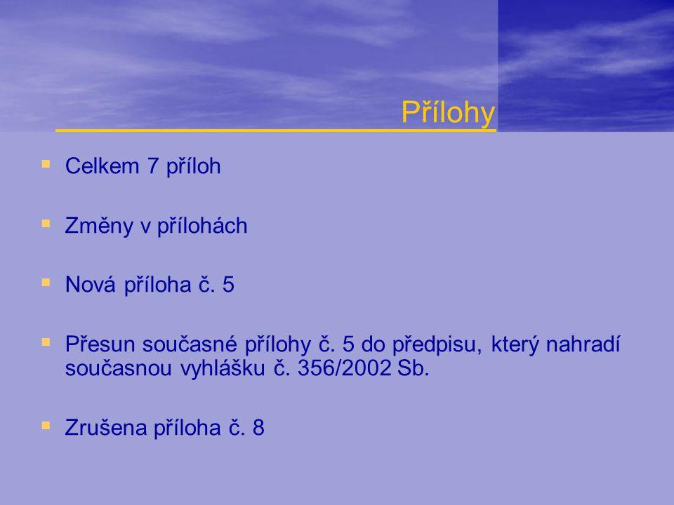  Celkem 7 příloh  Změny v přílohách  Nová příloha č. 5  Přesun současné přílohy č. 5 do předpisu, který nahradí současnou vyhlášku č. 356/2002 Sb.