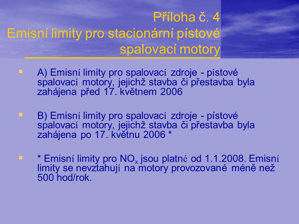 Příloha č. 4 Emisní limity pro stacionární pístové spalovací motory  A) Emisn í limity pro spalovac í zdroje - p í stové spalovac í motory, jejichž s