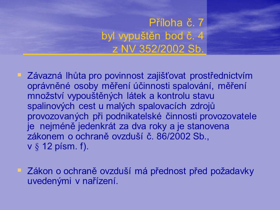 Příloha č. 7 byl vypuštěn bod č. 4 z NV 352/2002 Sb.  Závazná lhůta pro povinnost zajišťovat prostřednictvím oprávněné osoby měření účinnosti spalová
