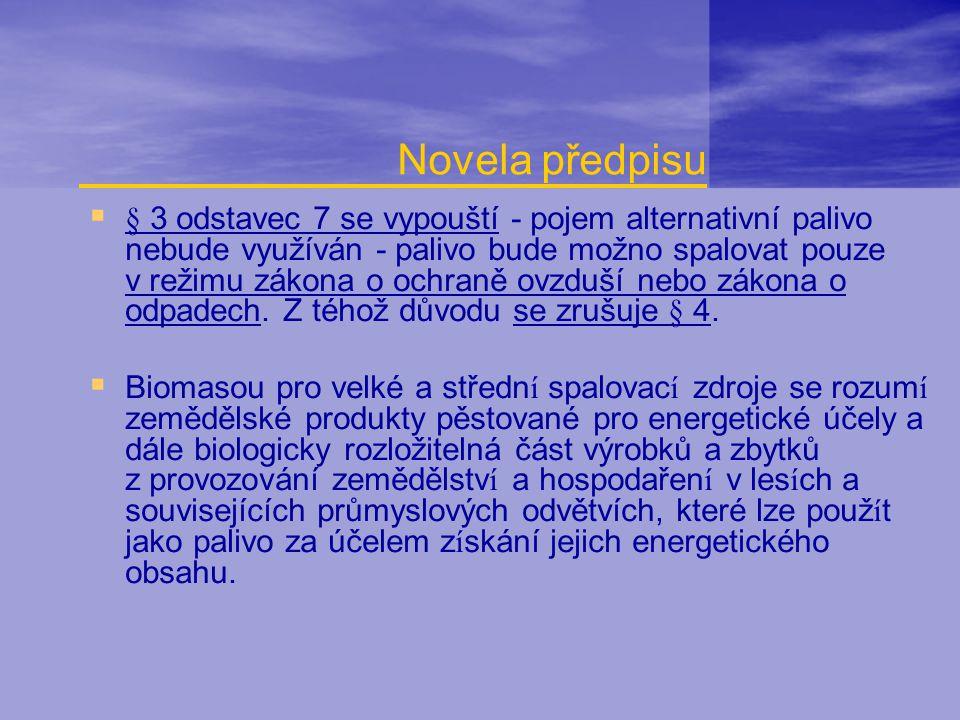 Novela předpisu  § 3 odstavec 7 se vypouští - pojem alternativní palivo nebude využíván - palivo bude možno spalovat pouze v režimu zákona o ochraně