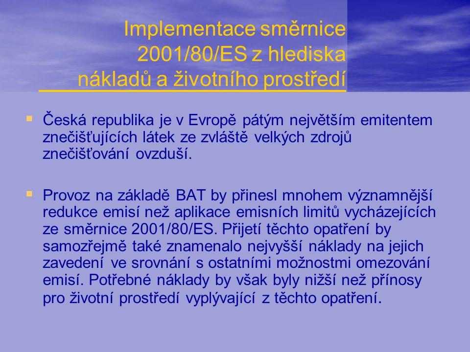 Implementace směrnice 2001/80/ES z hlediska nákladů a životního prostředí  Česká republika je v Evropě pátým největším emitentem znečišťujících látek