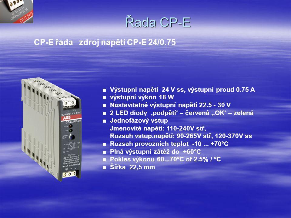 Nová řada zdrojů CP-E Sortiment ■ CP-E 5/3.0 ■ CP-E 12/2.5 ■ CP-E 24/0.75 ■ CP-E 24/1.25 ■ CP-E 24/2.5 ■ CP-E 48/0.625 ■ CP-E 48/1.25 ■ E = ekonomická ■Vstup jedna fáze jmenovité : 110-240V stř.