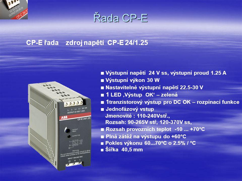 Řada CP-E CP-E řada zdroj napětí CP-E 24/0.75 ■ Výstupní napětí 24 V ss, výstupní proud 0.75 A ■ výstupní výkon 18 W ■ Nastavitelné výstupní napětí 22.5 - 30 V ■ 2 LED diody 'podpětí' – červená,'OK' – zelená ■ Jednofázový vstup Jmenovité napětí: 110-240V stř, Rozsah vstup.napětí: 90-265V stř, 120-370V ss ■ Rozsah provozních teplot -10...