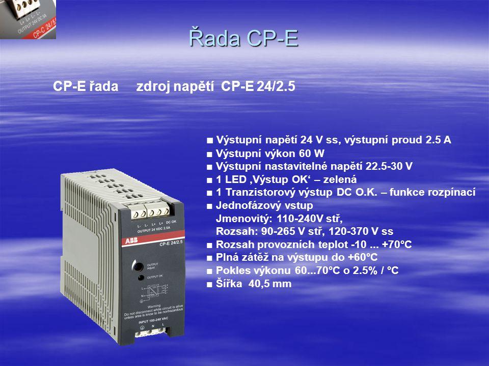 Řada CP-E CP-E řada zdroj napětí CP-E 24/1.25 ■ Výstupní napětí 24 V ss, výstupní proud 1.25 A ■ Výstupní výkon 30 W ■ Nastavitelné výstupní napětí 22.5-30 V ■ 1 LED 'Výstup OK' – zelená ■ 1 tranzistorový výstup pro DC OK – rozpínací funkce ■ Jednofázový vstup Jmenovité : 110-240Vstř., Rozsah: 90-265V stř, 120-370V ss, ■ Rozsah provozních teplot -10...