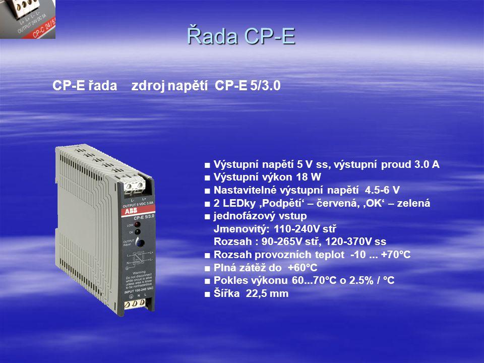 Řada CP-E CP-E řada zdroj napětí CP-E 24/2.5 ■ Výstupní napětí 24 V ss, výstupní proud 2.5 A ■ Výstupní výkon 60 W ■ Výstupní nastavitelné napětí 22.5-30 V ■ 1 LED 'Výstup OK' – zelená ■ 1 Tranzistorový výstup DC O.K.