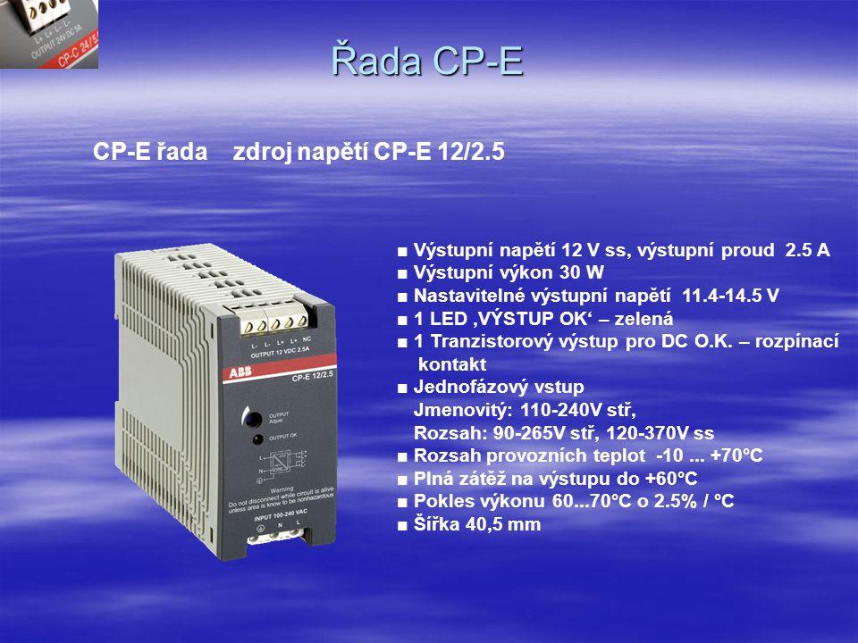 Řada CP-E CP-E řada zdroj napětí CP-E 5/3.0 ■ Výstupní napětí 5 V ss, výstupní proud 3.0 A ■ Výstupní výkon 18 W ■ Nastavitelné výstupní napětí 4.5-6 V ■ 2 LEDky 'Podpětí' – červená, 'OK' – zelená ■ jednofázový vstup Jmenovitý: 110-240V stř Rozsah : 90-265V stř, 120-370V ss ■ Rozsah provozních teplot -10...