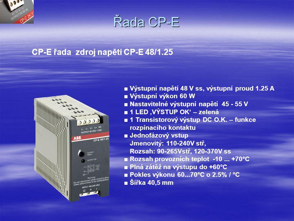 Řada CP-E CP-E řada zdroj napětí CP-E 48/0.62(5) ■ Výstupní napětí 48 V ss, výstupní proud 0.625 A ■ Výstupní výkon 30 W ■ Nastavitelné výstupní napětí 45-55 V ■ 1 LED 'VÝSTUP OK' – zelená ■ 1 Transistorový výstup pro DC O.K.