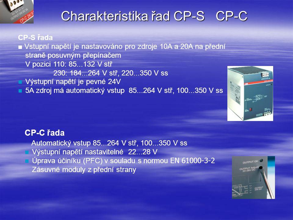 Charakteristiky řad CP-S a CP-C Řada CP-S and CP-C nabízí následující výhody ve srovnání konvenčními zdroji: Výstupní proud 5 A, 10 A a 20 A Integrovaná výkonová rezerva 50 % Konstantní nebo nastavitelné výstupní napětí (závisí od typu) Vysoká účinnost až 88...89 % Malé výkonové a tepelné ztráty Rozpojení obvodu,přetížení a zkrat jsou automaticky rozpoznány a po jejich odstranění pokračuje zdroj v činnosti Integrovaná vstupní pojistka Schopnost pracovat paralelně k dosažení redundance,či vyššího proudu Spojovací modul CP-A RM nabízející pravou redundantnost Stavová LED VÝSTUP OK Schválení (v přípravě): 604 (Class I, Div.