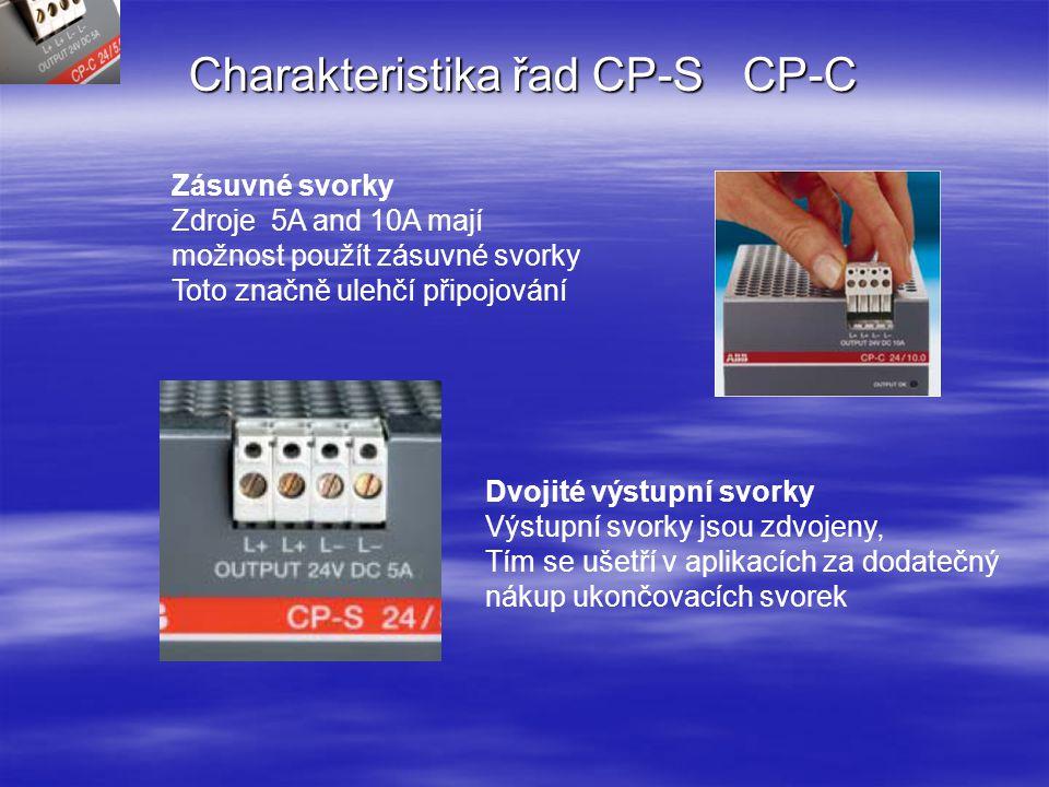 CP-C řada Automatický vstup 85...264 V stř, 100...350 V ss Výstupní napětí nastavitelné 22...28 V Úprava účiníku (PFC) v souladu s normou EN 61000-3-2 Zásuvné moduly z přední strany CP-S řada ■ Vstupní napětí je nastavováno pro zdroje 10A a 20A na přední straně posuvným přepínačem V pozici 110: 85...132 V stř 230: 184...264 V stř, 220...350 V ss Výstupní napětí je pevné 24V 5A zdroj má automatický vstup 85...264 V stř, 100...350 V ss Charakteristika řad CP-S CP-C