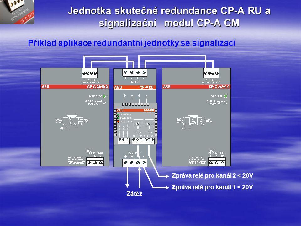 Jednotka skutečné redundance CP-A RU Příklad použití Zátěž 1Zátěž 2