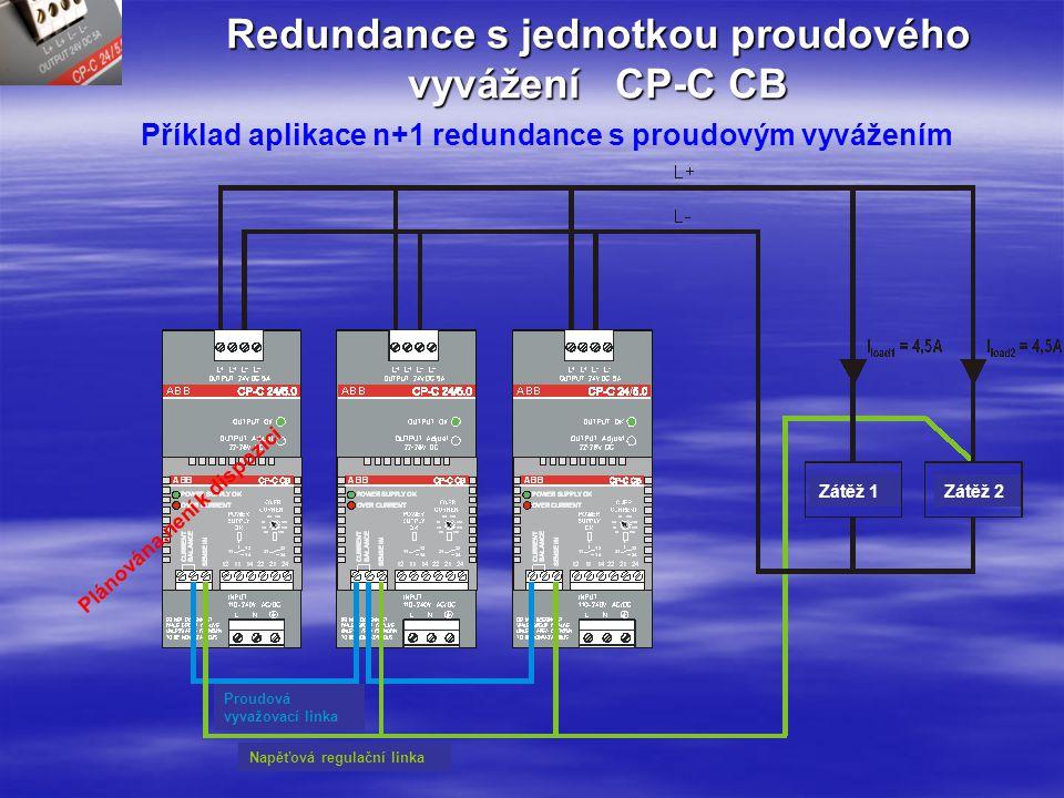 Jednotka skutečné redundance CP-A RU a signalizační modul CP-A CM Příklad aplikace redundantní jednotky se signalizací Zátěž Zpráva relé pro kanál 1 < 20V Zpráva relé pro kanál 2 < 20V