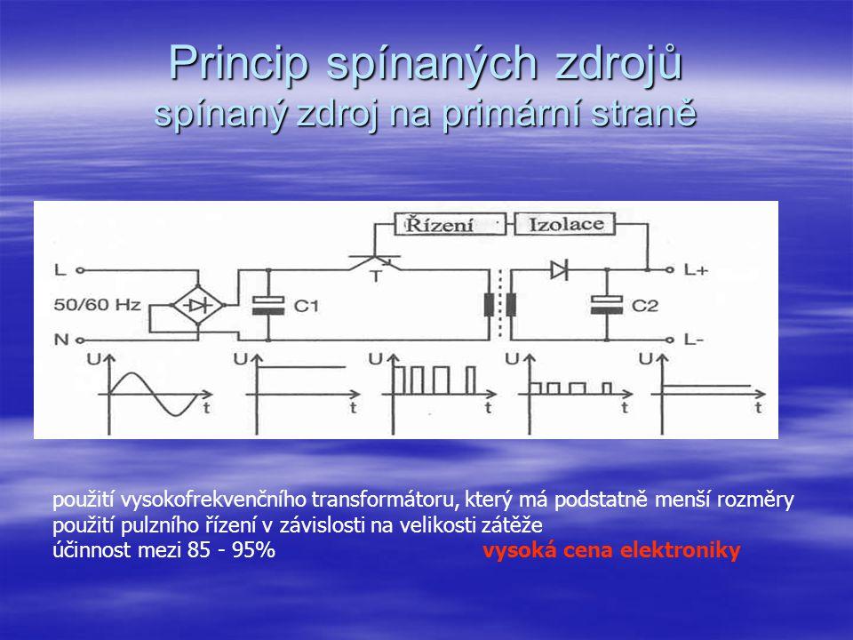 Princip spínaných zdrojů řízený zdroj  U předchozího typu zdroje nebylo možno jakkoliv ovlivňovat výstupní napětí, např.