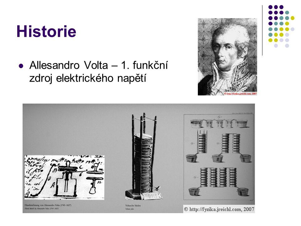 Historie Allesandro Volta – 1. funkční zdroj elektrického napětí