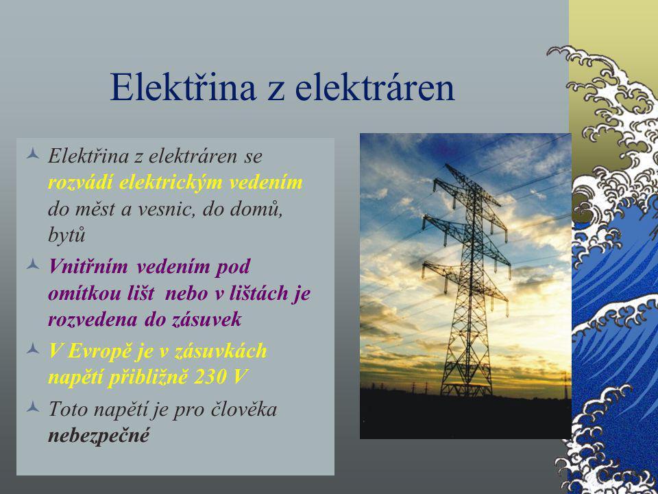 Elektřina z elektráren Elektřina z elektráren se rozvádí elektrickým vedením do měst a vesnic, do domů, bytů Vnitřním vedením pod omítkou lišt nebo v