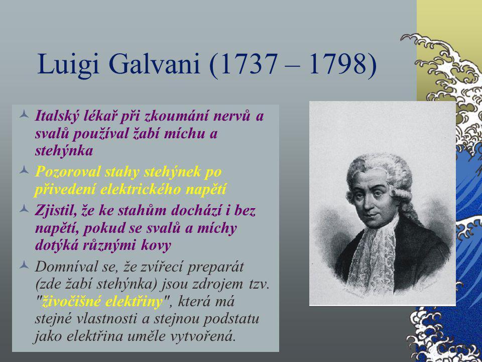 Luigi Galvani (1737 – 1798) Italský lékař při zkoumání nervů a svalů používal žabí míchu a stehýnka Pozoroval stahy stehýnek po přivedení elektrického