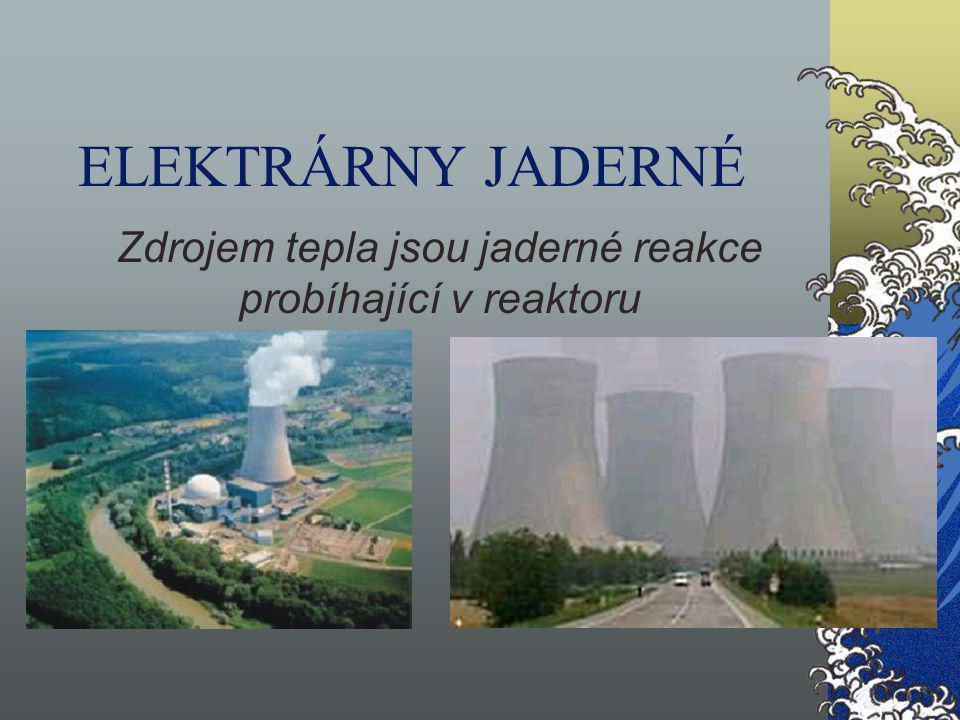 ELEKTRÁRNY JADERNÉ Zdrojem tepla jsou jaderné reakce probíhající v reaktoru