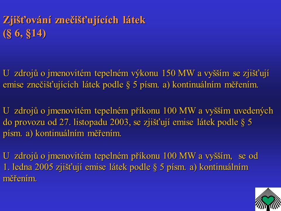 Zjišťování znečišťujících látek (§ 6, §14) U zdrojů o jmenovitém tepelném výkonu 150 MW a vyšším se zjišťují emise znečišťujících látek podle § 5 písm