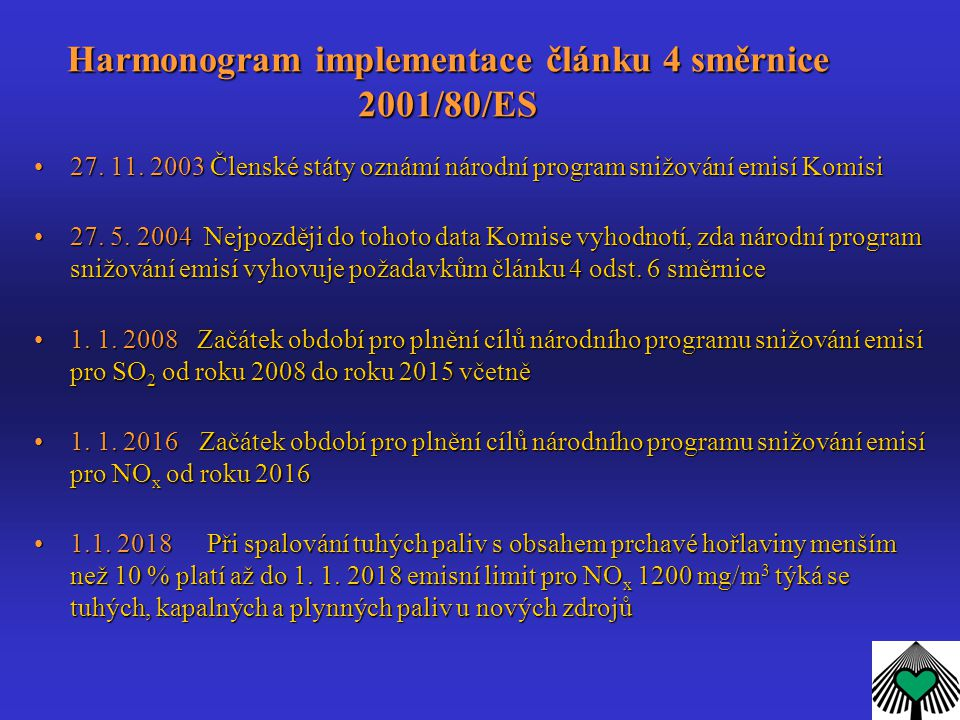 Harmonogram implementace článku 4 směrnice 2001/80/ES 27. 11. 2003 Členské státy oznámí národní program snižování emisí Komisi27. 11. 2003 Členské stá